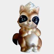 Vintage Josef Originals Loving Raccoon With Yellow Flower Ceramic Figurine