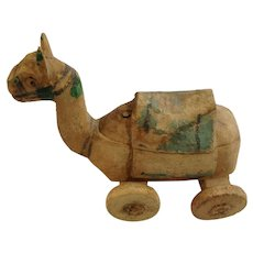 Vintage Hand Made Camel Wooden Pull Toy On Wheels India