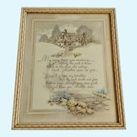 Vintage Mother Poem Framed Print Floral Pathway to a Cottage Home 1937
