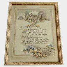 Vintage Mother Poem Framed Print Floral Pathway to a Cottage Home 1937