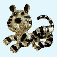 Silver-Tone to Gold-tone  Black Enamel Tiger Cat Brooch Pin