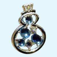 Christmas Silver-Tone Snowman Light Blue Beads and Aurora Borealis Rhinestones Brooch Pin