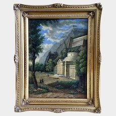 Arthur Melo, European Surreal Landscape Oil Painting on Board Signed by Artist