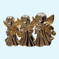 3 Little Children Christmas Angels Playing Instruments Gold-tone Silver-tone Pin Brooch
