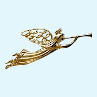 Christmas Angel Pin Blowing Trumpet Gold-tone Faux Diamond Halo Brooch