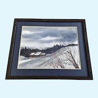 V Springer, Snowy Rural Landscape Watercolor Painting