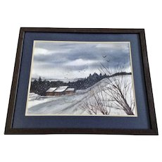V Springer, Snowy Rural Landscape Watercolor Painting Signed by Artist