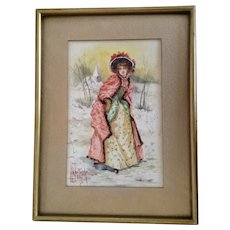 Heintzsche European Woman in Victorian Gown Snow Covered Landscape Watercolor Painting 1908