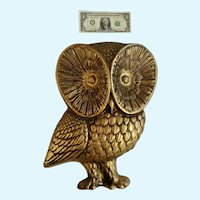 Witty Mid-Century Gold-tone Owl Bird Hard Foam Animal Shaped Mold Large Wall Decor