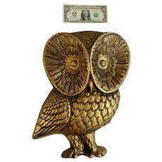 Mid-Century Gold-tone Owl Bird Hard Foam Animal Shaped Mold Large Wall Decor