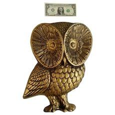 Mid-Century Gold-tone Owl Bird Hard Foam Animal Shaped Mold Large Wall Decor