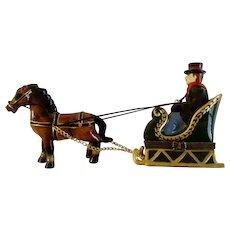 Sleigh Ride Hinged Trinket Box Horse Down Sled Porcelain Figurine
