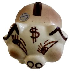 Vintage Walker California Pottery Piggy Bank Figurine Money Pig USA