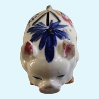 Hand Painted Piggy Bank Early Japan Hog Pig Figurine