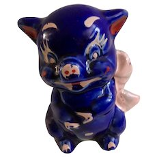 Vintage Cobalt Blue Piggy Bank Pig Figurine Hand Painted Circa 1920's
