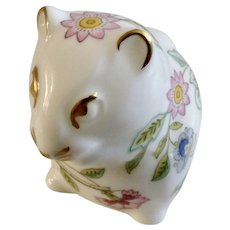 Haddon Hall Minton Mouse Bone China England Floral Pattern Figurine
