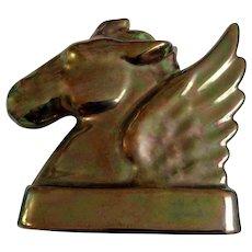 Art Deco Pegasus Horse Figurine Marco Pottery Norwich, Ohio USA Iridescent Gold Glaze