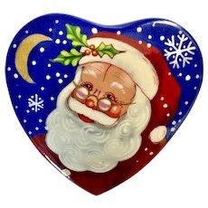 Gorgeous Saint Nicholas Hand Painted Russian Lacquer Santa Claus Pin