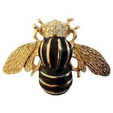 Gerry's Bumble Bee Black and Gold-Tone Rhinestone Encrusted Brooch Pin
