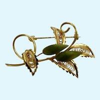 Jade and Gold-Tone Filigree Floral Brooch Pin