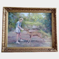 Bob (Robert G.) Haynes, Young Girl Feeding Deer Impressionist Oil Painting on Canvas Signed by Listed Colorado Artist