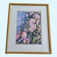 B Rogers Pink Hollyhocks Wildflowers Original Floral Watercolor
