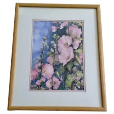 B Rogers Pink Hibiscus Wildflowers Original Floral Watercolor Signed by Artist