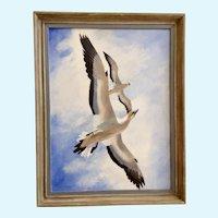 Willis Johnson Seagulls in Flight Oil Painting