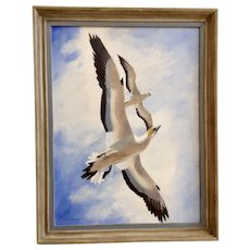 Willis Johnson Seagulls in Flight Oil Painting on  Canvas Board Signed By Artist