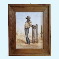 Irene Bartels, Cowboy by Barb Wire Fence Titled, 'Old Memories' Oil Painting