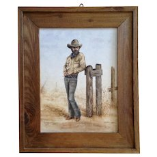 Irene Bartels, Cowboy by Barb Wire Fence Titled, 'Old Memories' Oil Painting Signed By Colorado Artist