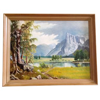 Robert O'Hara, Mountainous Landscape 1963 Oil Painting on Canvas Signed By Artist