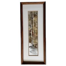 Sharp-tailed Grouse Flying Landscape Original Watercolor Painting