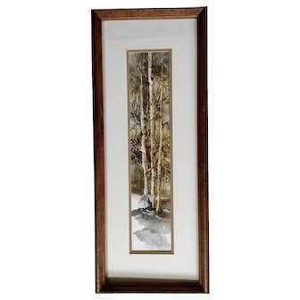 Sharp-tailed Grouse Flying From Snow Covered Forest Landscape Original Watercolor Painting