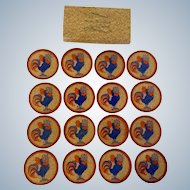 Mid-Century Squawking Rooster Cork Coasters by Lowell