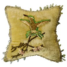 Vintage Hummingbird Glass Beaded Old Animal Pillow