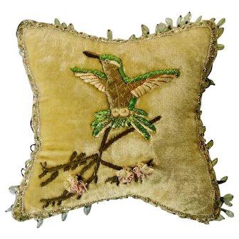 Vintage Hummingbird Glass Beaded Old Animal Pillow