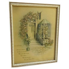 Mid-Century Mother Poem Framed Print Floral Entry Door Mother's Day Donald Art Co
