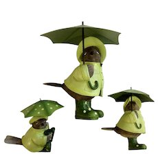 Adorable English Bird Figurines Wearing Green Galoshes with Matching Raincoats and Umbrellas Secret Garden Gnome Animals