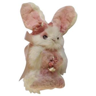 Mid-Century Pink Easter Bunny Rabbit Fur Vintage Plush Stuffed Animal