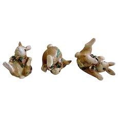 Fitz & Floyd Woodland Springs Bunny Rabbit Tumblers Set of 3 Figurines