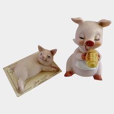 Josef Originals Hog Pig Eating Corn and Lounging In the Sun George Good 1975 Group