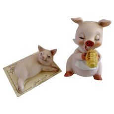 Josef Originals Hogs Pigs Figurines Eating Corn and Lounging In the Sun George Good 1975 Group