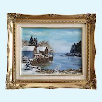M. Painter, Snow Covered Harbor with Fishing Boats Oil Painting