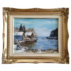 M. Painter, Snow Covered Harbor with Fishing Boats Oil Painting on Canvas Signed by Artist