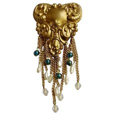 Vintage Gold-Tone Brooch Pin with Dangling Glass and Freshwater Pearls