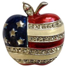 U.S.A. American Flag Patriotic Rhinestone Apple Brooch Pin