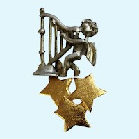 Christmas Ultra Craft Pewter Angel with Harp and and Gold-Tone Golden Stars Brooch Pin