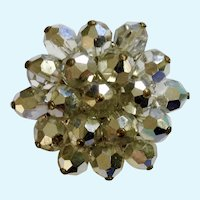 Shiny Cluster Starburst Mirrored Silver-tone Beaded Brooch Pin