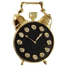 Crystal Rhinestones in Alarm Clock Black and Gold-Tone Brooch Pin